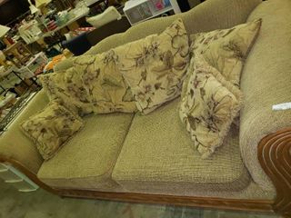 American Furniture Couch with Floral Accent Pillows