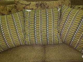 lot of 3 Grey and Yellow Accent Pillows