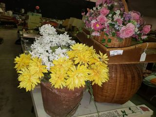 lot of Artificial Flowers and large Basket w  Tray