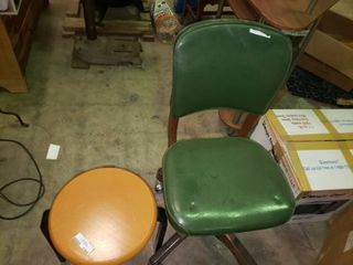 Vintage Green Rolling Chair and Wooden Stool