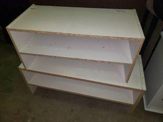 lot of 2 White Wooden Shelves