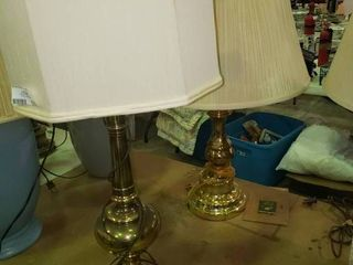 lot of 2 Brass Colored Table lamps