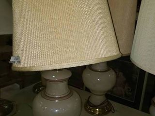 Pair of Matching White Table lamps