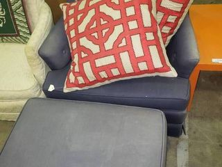 Blue Armchair with Matching Ottoman and 2 Accent Pillows