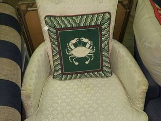 Vintage White Armchair with Crab Pillow