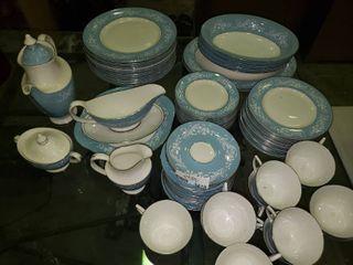 large lot of White and Blue Alexandria Bone China