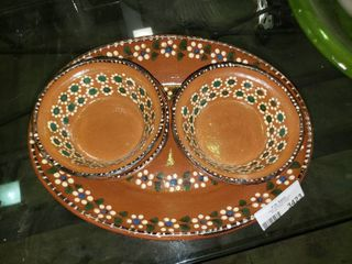 lot of Floral Bowls with Plate