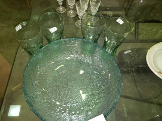 large Textured Bowl with 4 Coca Cola Glasses