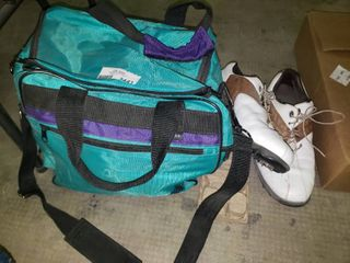 Pair of Footjoy Golf Shoes with Bowling Bag and Bowling Ball