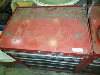 Red Metal Toolbox with Contents