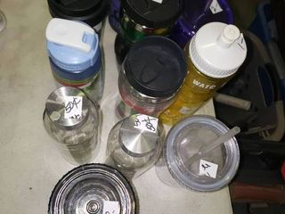 lot of Travel Mugs and Water Bottles