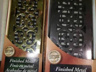 lot of 2 Decor Grates 4 x12  Floor Registers One Scroll Brass and One Scroll Cast Iron