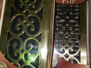 lot of 2 Decor Grates 4 x12  Floor Registers Both Scroll Brass