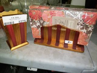 Matching Napkin Holder and Container with 3 Packages of Decorative Napkins