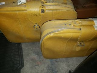 Pair of Vintage Yellow Suitcases
