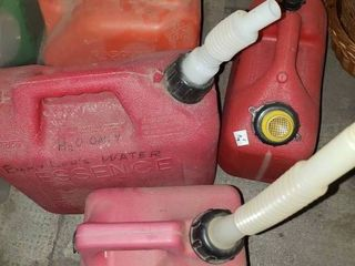 lot of 4 Red Plastic Gas Containers