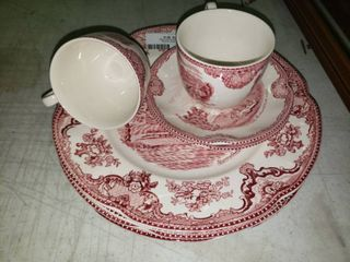 lot of Red and White Decorative Glassware from England