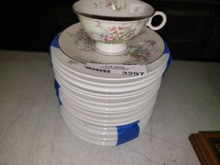lot of Teacup and Saucers with Floral Accents