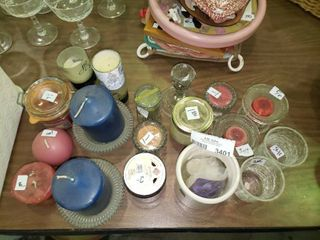 large lot of Various Candles and Candle Holders