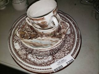 lot of White and Brown Decorative Glassware