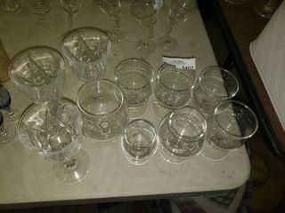 lot of Various Stemmed Drinking Glasses