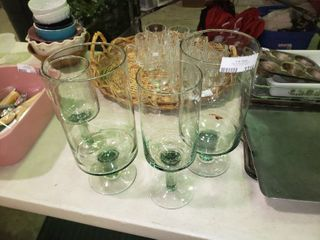 lot of 4 Decorative Glass Stemmed Canisters