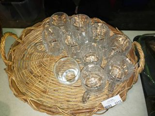 lot of Christmas Themed Glasses with Tray