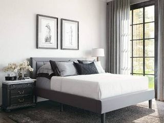 Classic Brands Mornington Upholstered Platform Bed   Headboard and Metal Frame with Wood Slat Support  Queen  light Grey