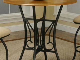 Cramco Dart Oak Veneer Wood Metal Round Counter Height Table