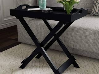 lavish Home 80 FT 10 Decor Display and Home Accent Table with Removable Tray Top  Black