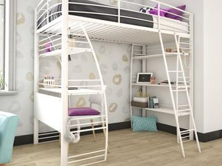 DHP Studio Twin loft Bed with Integrated Desk and Shelves  White