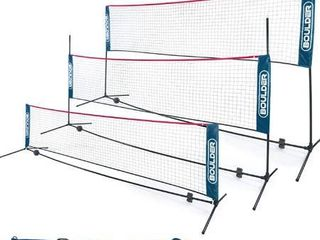 Boulder Portable Badminton Net Set  for Tennis  Soccer Tennis  Pickleball  Kids Volleyball  Easy Setup Nylon Sports Net with Poles
