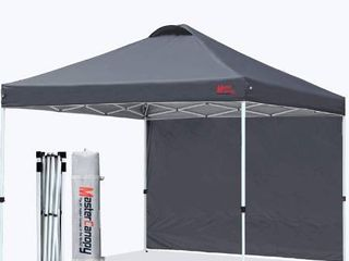 MASTERCANOPY Patio Pop Up Instant Shelter Beach Canopy with 1 Side Wall  Better Air Circulation Outdoor Canopy with Wheeled Carry Bag and 4 Sand Bags 10 x10 Dark Gray