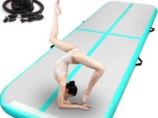 FBSPORT 13ft Inflatable Gymnastics Air Mat Track Floor Mat 4 8 inches Thickness Gym Mats for Home Use Training Cheerleading Yoga Water with Pump