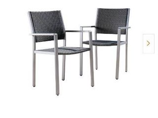 Athena Silver Aluminum Outdoor Dining Chair in Grey  2 Pack