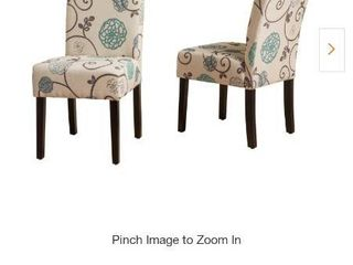 Pertica White and Blue Floral Fabric Dining Chairs  Set of 2