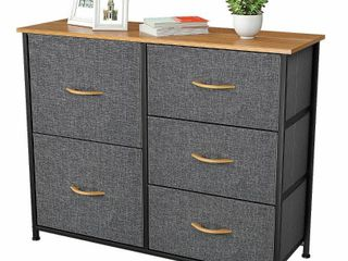 YITAHOME Dresser with 5 Drawers   Fabric Storage Tower  Organizer Unit for Bedroom  living Room  Closets   Nursery   Sturdy Steel Frame  Wooden Top   Easy Pull Fabric Bins  5 Drawers Cool Grey