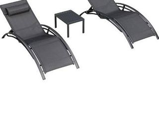 PURPlE lEAF Patio Chaise lounge Sets 3 Pieces Outdoor lounge Chair Sunbathing Chair with Headrest and Table for All Weather