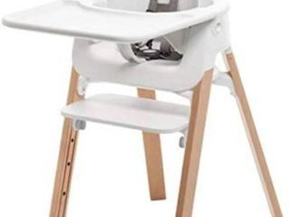 Stokke Steps Bundle  Baby Set  Seat  Tray   White  legs   Natural