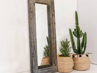Barnyard Designs long Decorative Wall Mirror  Rustic Distressed Unfinished Wood Frame  Vertical and Horizontal Hanging Mirror Wall Decor 58  x 24