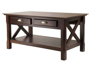 Winsome Wood Xola X Panel Coffee Table with Drawers  Cappuccino