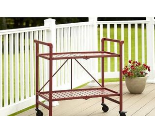 Cosco Indoor Outdoor Serving Cart  Folding  Ruby Red