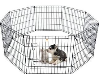 PEEKABOO Dog Pen Puppy Playpen Dog Fence Indoor Foldable Metal Wire Exercise Pen Dog Play Yard Gate Pet Enclosure Outdoor for Small large Dogs Rabbits Bunny 8 Panels 24    42