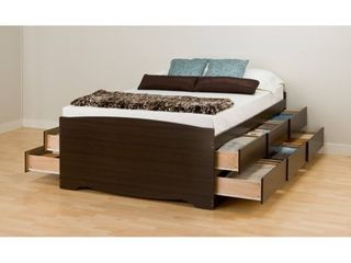 Prepac Espresso Tall Queen Platform Storage Bed  12 drawers