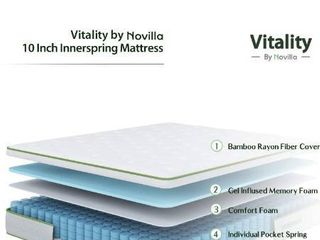Novilla Queen Mattress   12 Inch Vitality Gel Memory Foam Hybrid Mattress  Medium Firm Pocket Innerspring Queen Size Mattress with Edge Support  Motion Isolation and Cooling Sleep  NV0M802 12 Q
