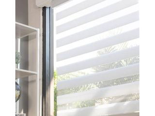 Chicology Basic Arctic Cordless Cut to Width light Filtering Dual layer Zebra Roller Shade 32 in  W x 72 in  l