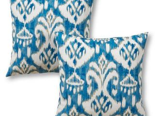 Coastal Ikat 17 x 17 in  Outdoor Accent Pillow  Set of 2