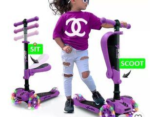 3 Wheels Mini Kids Toy Scooter Purple W  led Wheel lights   Fold Out Seats