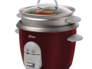 Oster 4722 3 Cup  Uncooked  6 Cup  Cooked  Rice Cooker with Steaming Tray  Red