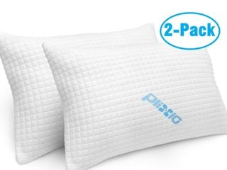 2 Pack Shredded Memory Foam Bed Pillows Bamboo Cooling Hypoallergenic queen Size